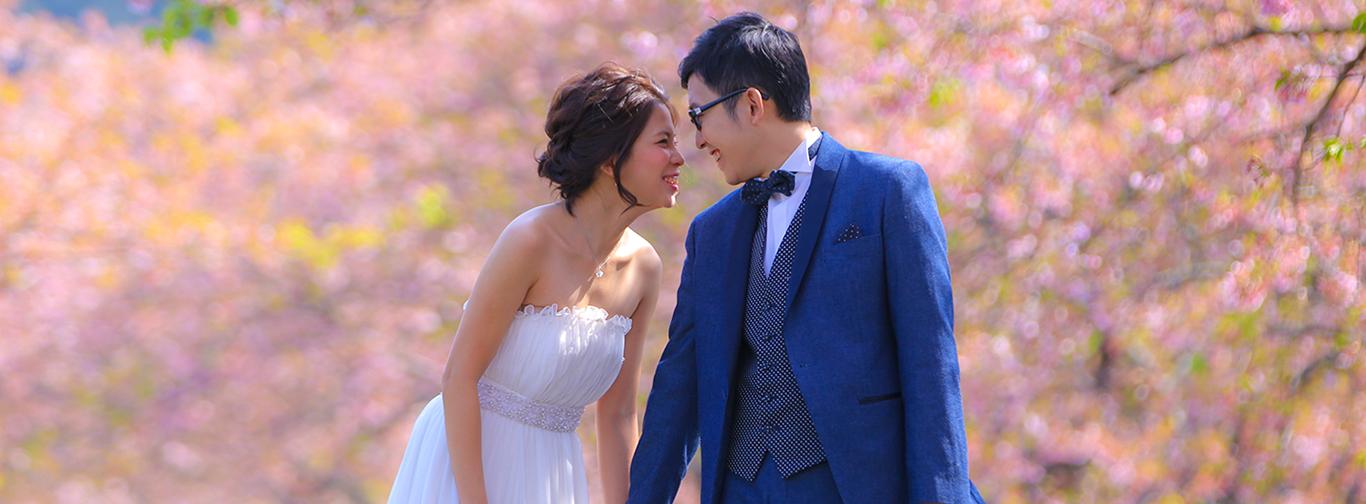 DE & Co. Decollte Wedding Photography in Japan. A Japanese Wedding Photo Studio.   德可莉日本專業婚紗攝影   Mt. Fuji   富士山   Kawazu-zakura in Izu   伊豆。河津櫻